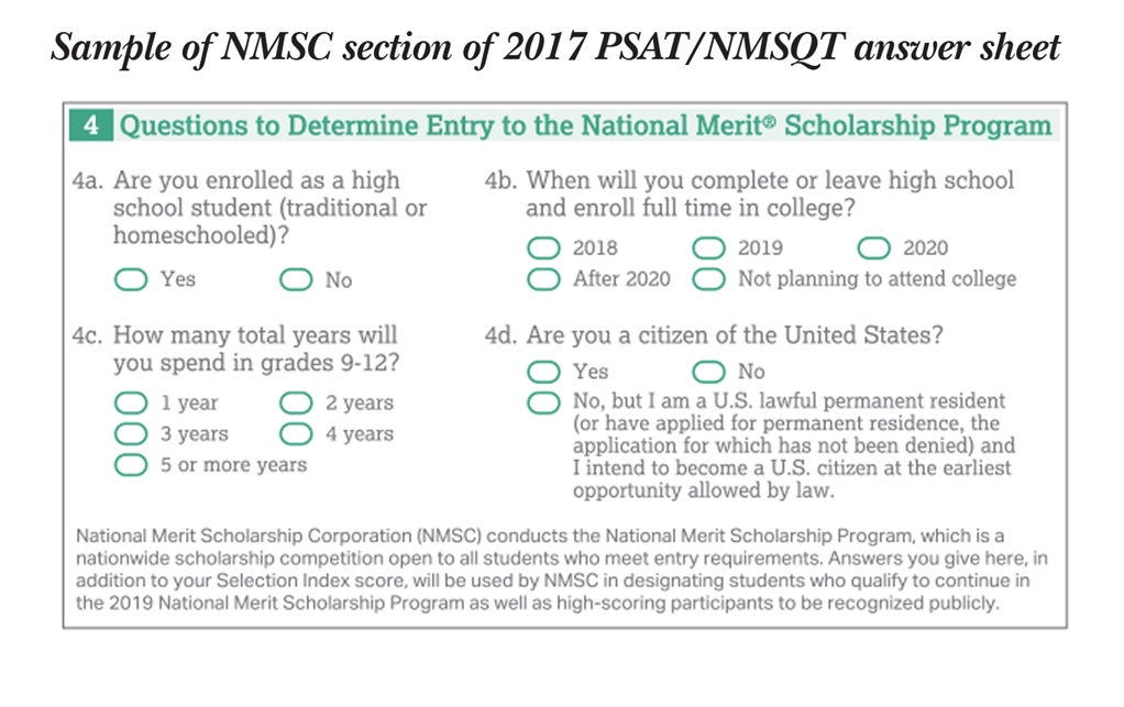 national merit scholarship corporation national merit   that are specific to nmsc program entry determine whether the individual meets requirements to participate in the national merit scholarship program